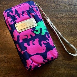LILLY PULITZER Elephant Wallet Cell Case Wristlet